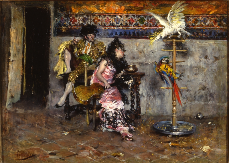 Coppia in abiti spagnoli con due pappagalli - Il Matador
