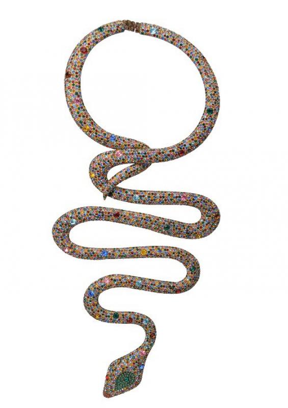Collana Serpente, acetato, vernice oro, strass Swarovski, 1968, Bijoux Bozart per Tita Rossi Alta Moda – foto Archivio Bijoux Bozart