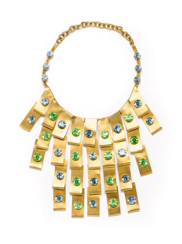 Collana, metallo dorato satinato e strass, seconda metà anni 60, Luciana de Reutern per Ken Scott – foto Francesco di Bona