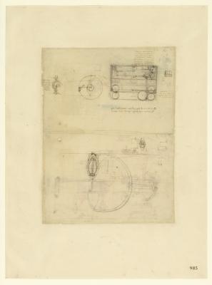 Leonardo da Vinci (1452-1519), Codice Atlantico (Codex Atlanticus), foglio 985 recto. Sistemi d'aggancio e sgancio automatico; disegno di non facile identificazione (probabilmente una barca); in alto, macchine per la tessitura.