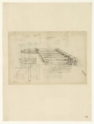 Leonardo da Vinci (1452-1519), Codice Atlantico (Codex Atlanticus), foglio 106 recto. Garzatrice per fabbricare tessuti felpati.