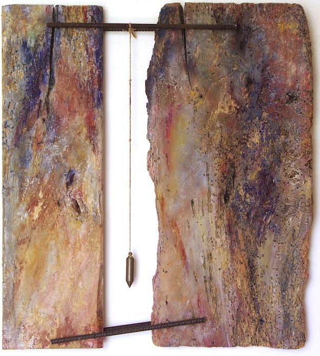 equilibrio precario 74x67x6 legno ferro piombo pigmenti 2012