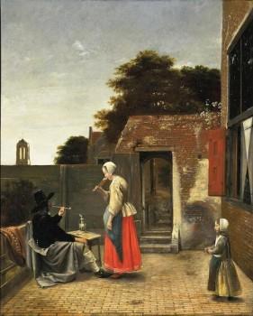 Pieter de Hooch – Uomo che fuma e donna che beve in un cortile