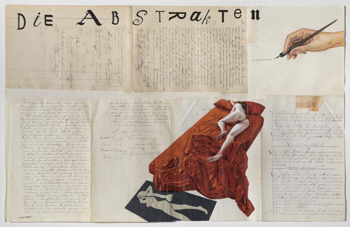 Galeria Espacio Minimo Nono Bandera El dilema de Lissitzky.  2014 Tinta china y témpera sobre ensamblaje de papel y legajos antiguos (1904) 54 x 86 cm.