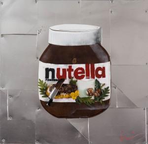 Marcello Reboani, Nutella, 2015, tecnica mista con materiali di recupero, cm. 63x63, ph Giorgio Benni.