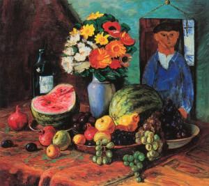 Amedeo Modigliani e Moise Kisling Natura morta con ritratto di M. Kisling dipinto da Modigliani, 1918 circa Olio su tela, 74,5 x 84 cm Israele, collezione privata