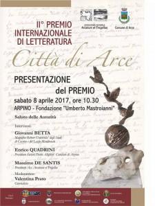 Locandina di presentazione del II Premio Internazionale di Letteratura Città di Arce