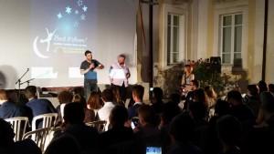 La Prof.ssa Angela Bianchi con gli ospiti della seconda serata Edoardo Leo e Stefano Fresi