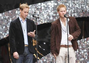 "Britain's Princes William (L) and Harry speak on stage at Wembley Stadium in London at the ""Concert for Diana"", held in memory of their mother Princess Diana, July 1, 2007. On what would have been Diana's 46th birthday, Princes William and Harry have lined up a string of pop veterans from Rod Stewart to Duran Duran for a six-hour show being broadcast to 145 countries. REUTERS/Stephen Hird (BRITAIN)"
