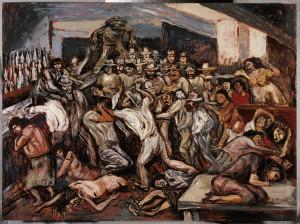 José Clemente Orozco Riña en un cabaret, 1944 Óleo sobre madera Soporte 61.3 x 81.5 cm Marco 93.7 x 114.5 x 3 cm Museo de Arte Carrillo Gil