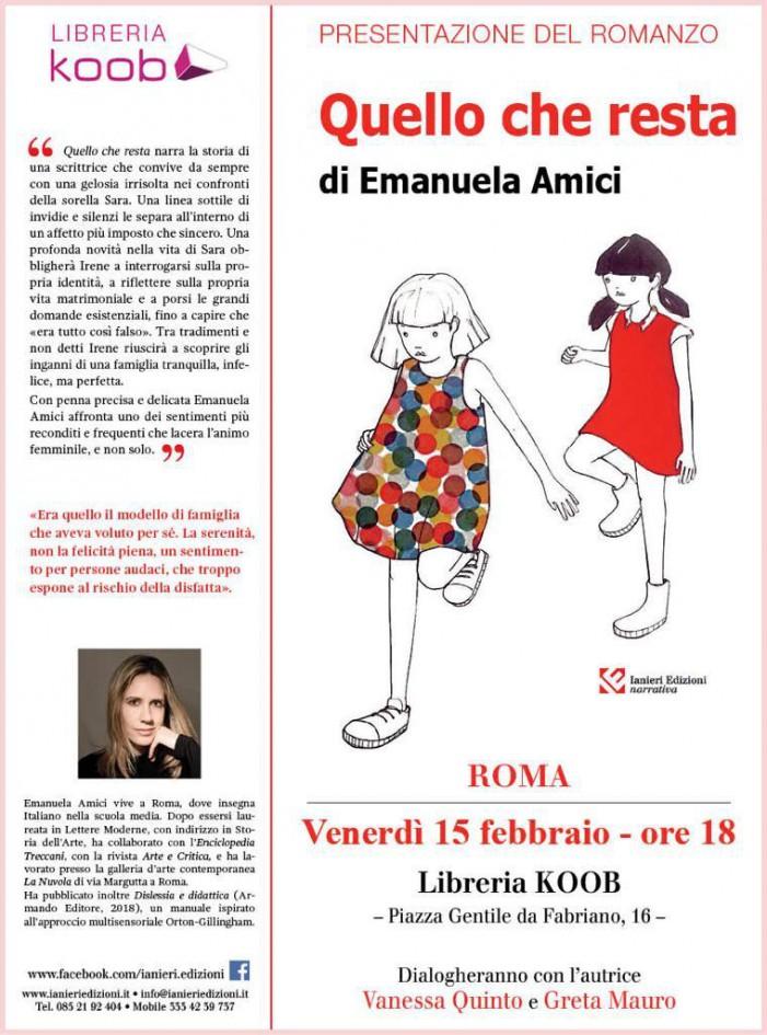 Quello che resta: Emanuela Amici vi aspetta alla libreria KOOB