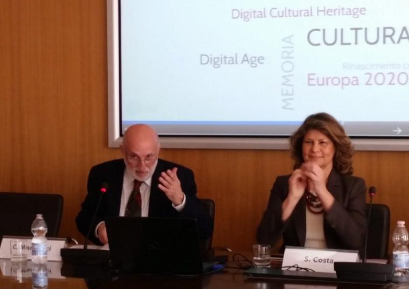 Il Segretario Generale DiCultHer Carmine Marinucci e l'Onorevole Silvia Costa