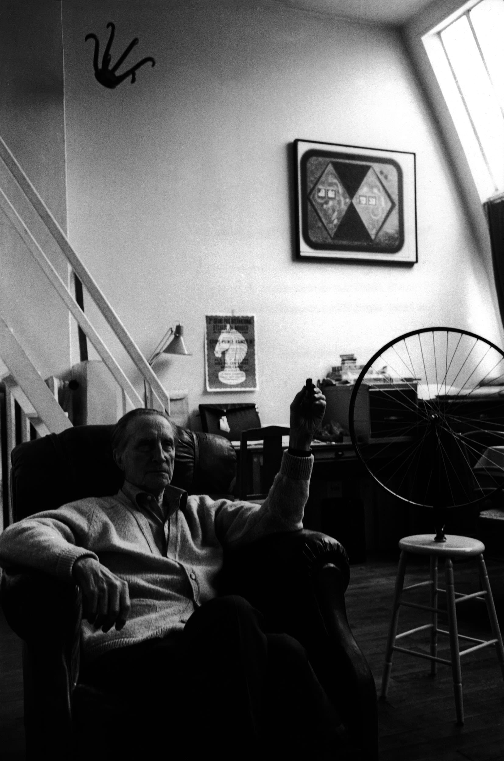 FRANCE. Paris. 1968. Marcel DUCHAMP, french painter and poet, at his work-shop of Neuilly-sur-Seine. Hauts de Seine.