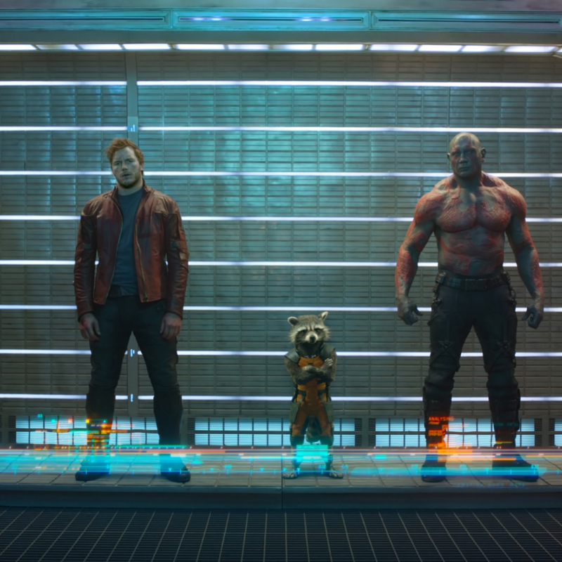 Marvel's Guardians Of The GalaxyL to R: Gamora (Zoe Saldana), Peter Quill/Star-Lord (Chris Pratt), Rocket Raccoon (voiced by Bradley Cooper), Drax The Destroyer (Dave Bautista) and Groot (voiced by Vin Diesel)Ph: Film Frame©Marvel 2014