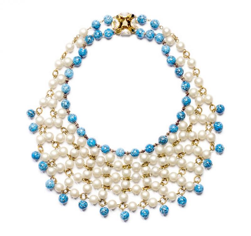 Collaretta, perle di vetro imitazione perle naturali e turchesi, anni 50, Emma Caimi Pellini – foto Francesco di Bona