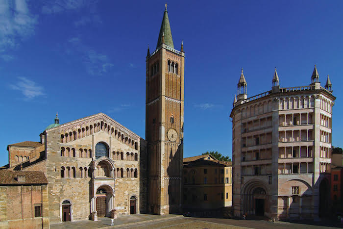 Parma, 2006: Parma downtown, the Cathedral and the Baptistery.