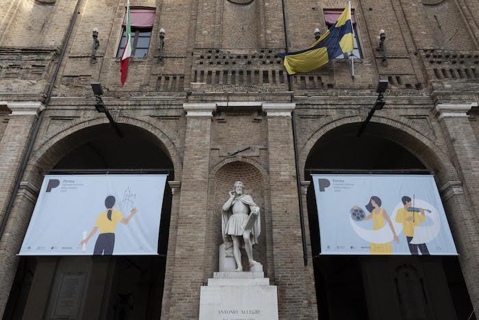 Parma, 12/12/2019: Parma2020. Comunicazione in piazza Garibaldi