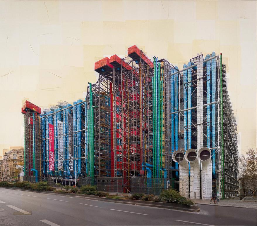 """""""Parigi, L'organo architettonico"""" stampa fotografica su collage di pagine di libri d'epoca 150x170 cm 2015"""