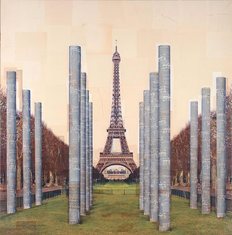 """""""Parigi, Paralleli alla Pace"""" stampa fotografica su collage di pagine di libri d'epoca 120x120 cm 2015"""