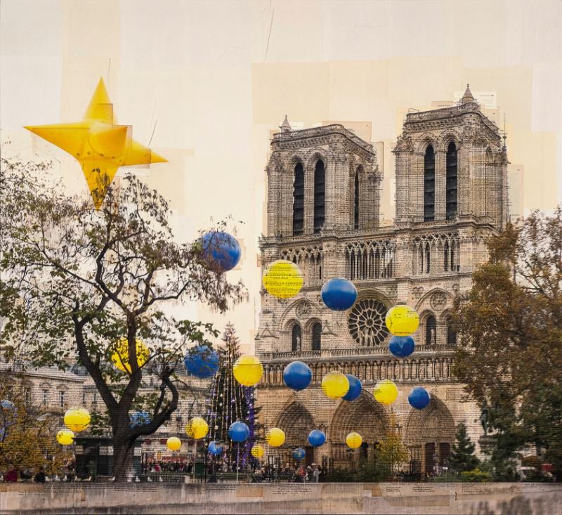 """""""Parigi, L'isola di stelle"""" stampa fotografica su collage di pagine di libri d'epoca 110x120 cm 2015"""