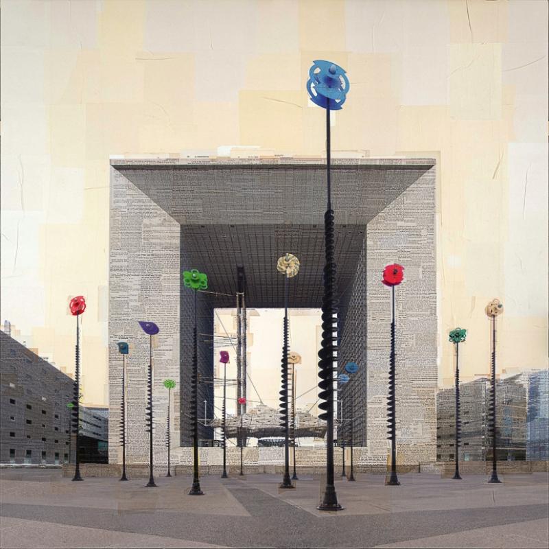 """""""Parigi, La Boîte à Joujoux"""" stampa fotografica su collage di pagine di libri d'epoca 130x130 cm 2015"""