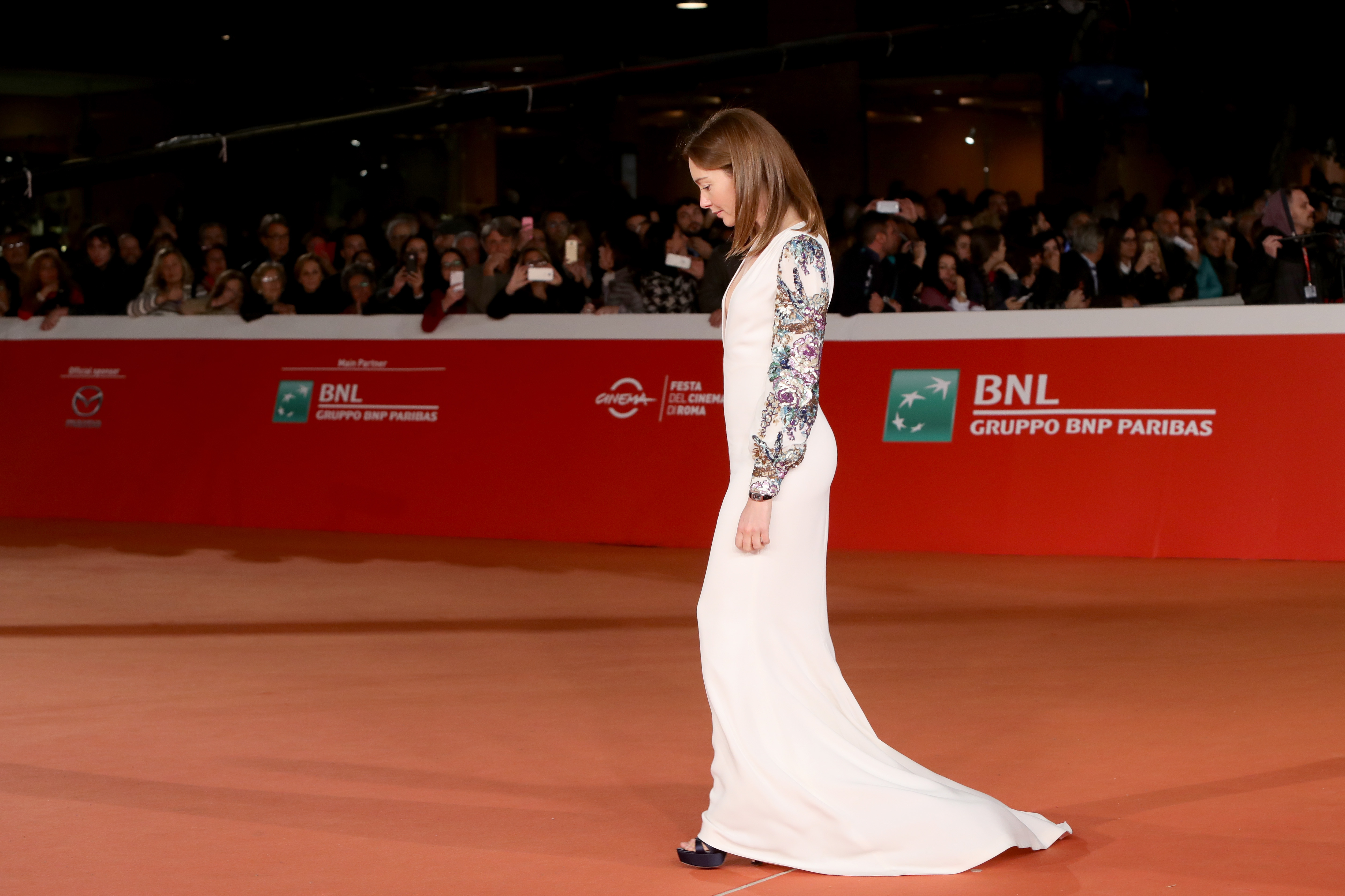 walks a red carpet for '7 Minuti' during the 11th Rome Film Festival at Auditorium Parco Della Musica on October 21, 2016 in Rome, Italy.