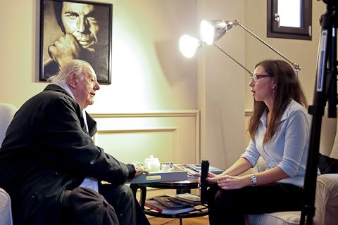 Dario Fo e Sara Di Paola durante l'intervista