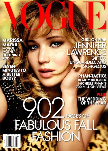 Jennifer Lawrence sul numero di Settembre 2013 di Vogue US