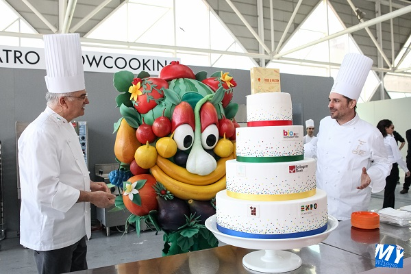 Gino Fabbri, Francesco Elmi e Foody la mascotte di Expo 2015