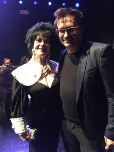 Lo stilista Federico Sangalli con la sua ospite Marina Castelnuovo (sosia ufficiale Liz Taylor)
