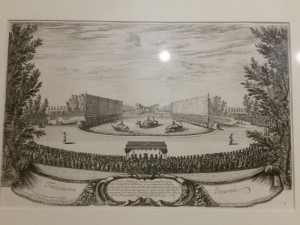 Acquaforte di Israël Silvestre che ritrae i festeggiamenti alla corte di Luigi XIV a Versailles ispirati ad episodi dell'Orlando Furioso