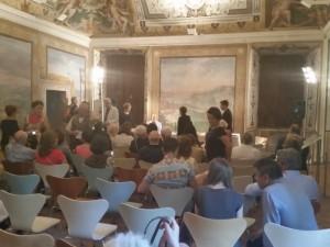 Momento pre-conferenza stampa: Il Prof. Farinella e la Dott.ssa Edith Gabrielli
