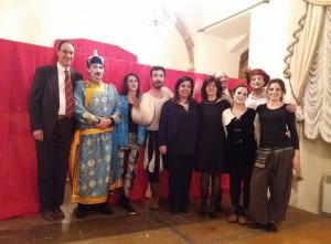 Il Sindaco di Arpino Reanto Rea (a sinistra) con Frederic Rey, la consigliera Martino (al centro), Sonia Schiavo e i membri del cast