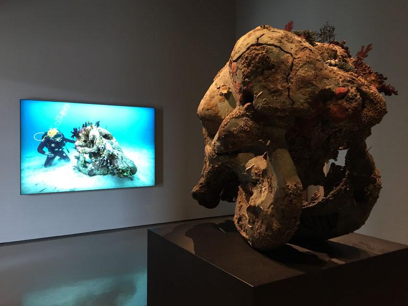 24Skull of a Cyclops, Bronzo; Skull of a Cyclops Examined by a Diver, Lightbox in poliestere stampato, acrilico e alluminio verniciato a polvere, Palazzo Grassi