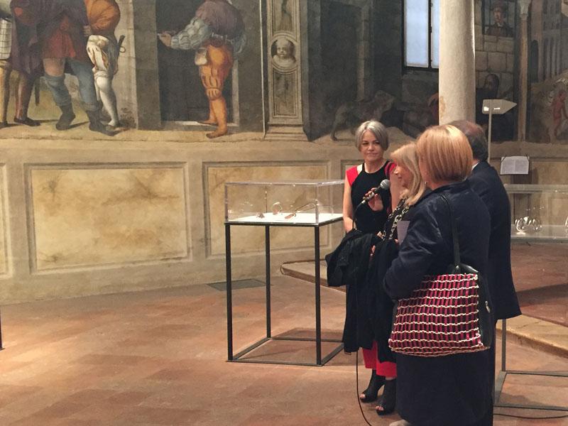 Emanula Bergonzoni, Mirella Cisotto Nalon, Andrea Colasio e Rossella Piergallini durante la presentazione della mostra