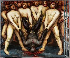 David Alfaro Siqueiros Caín en los estados unidos, 1947 Piroxilina sobre madera comprimida Obra 77 x 93 cm Museo de Arte Carrillo Gil