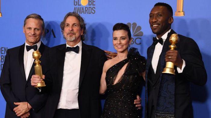 Da sinistra, Viggo Mortensen, Peter Farrelly (Miglior Sceneggiatura e Miglior Commedia per Green Book) e Mahershala Ali (Miglior Attore non protagonista)