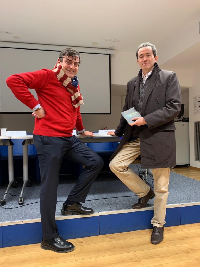 Andrea Rastelli con Luigi Gentili alla presentazione del libro Economia Liquida