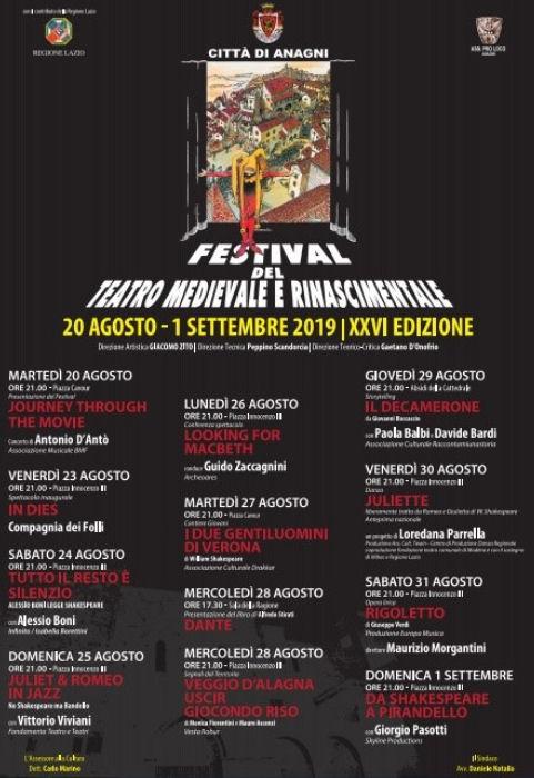 Anagni il consueto Festival del Teatro Medievale e Rinascimentale