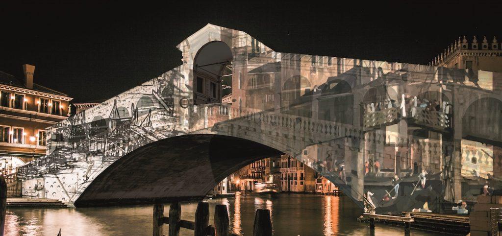 Natale di Luce 2020 Venice Italy. Rialto Bridge. Venezia