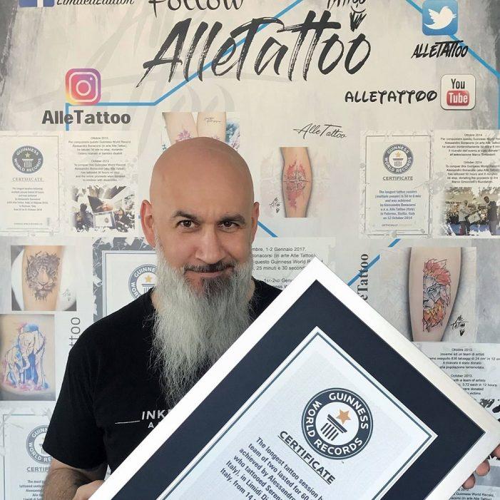 """Intervista ad Alle Tattoo, il tatuatore italiano nel Guinness World Record: """"Tatuare è un'arte, a breve il 15° Record!"""""""