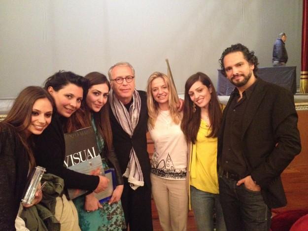 le studentesse vincitrici del premio con Fabiola Cinque, Lorenzo Marini e Massimiliano Longo